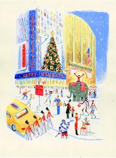 Everyone loves New York. inglese, tedesca e francese Illustration Noel, Winter Illustration, Travel Illustration, Christmas Illustration, Illustrations, Christmas In The City, New York Christmas, Christmas Love, Vintage Christmas