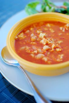 Spicy Tomato & Turkey Soup with Ditalini | iowagirleats.com
