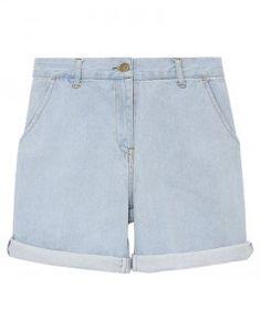 High Waist Denim Shorts with Rolled Cuffs in Light Blue