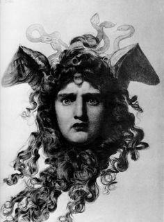 Medusa, Frederick Sandys, drawing pre Raphaelite