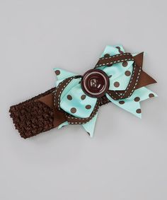 Look what I found on #zulily! Bearington Collection Brown & Teal Bow Crochet Headband by Bearington Collection #zulilyfinds