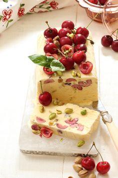 Cherry Pistachio & Lemon Semifreddo Recipe by Chef Shane Smith Frozen Desserts, Summer Desserts, Frozen Treats, Christmas Desserts, Just Desserts, Delicious Desserts, Dessert Recipes, Best Bakery, Sorbets