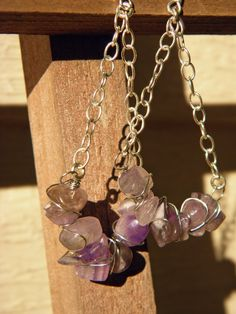 I made a pair like this a few years ago!   Amethysts on a chain.