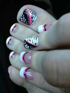 Use of Black, White, Pink, and Silver For Toe Nails.