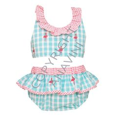 7a16a9b2a4c3 Anavini Embroidered Flamingos Aqua Plaid Girls Swimsuit. Drake ChildChildren's  BoutiquePink ...