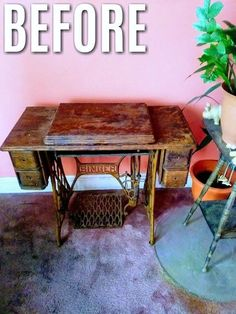 See this one brilliant crafter's makeover idea for a vintage tabletop sewing machine to save it from going into the trash bin! A gorgeous upcycle into a DIY vanity! Treadle Sewing Machines, Vintage Sewing Machines, Furniture Makeover, Furniture Decor, Unique Furniture, Upcycled Furniture, Furniture Update, Furniture Design, Handmade Home Decor
