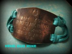 Rustic Western Bracelet, Turquoise Leather, BRASS  - Big Girl Boots/Cowgirl Up on Etsy, $30.00