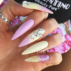 18 Pointy Nails Designs You Can't Resist To Copy ★ Colorful Ombre Designs for Bright Look Picture 1 ★ See more: http://glaminati.com/pointy-nails/ #pontynails #pointynaildesigns