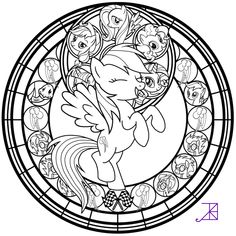 Stained Glass: Rainbow Dash -line art- by Akili-Amethyst on DeviantArt