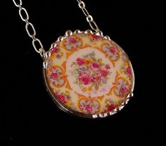 Broken china jewelry Parisian roses circle necklace made from a broken plate vintage china