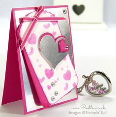 South Hill Designs & Stampin' Up! Sunday Hot Pink Heart Tutorial! Sheryl says:- love this idea and the colour combo is lovely.  Hot pink and silver - wow.