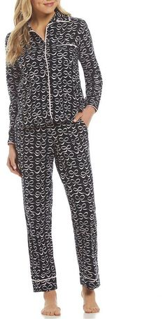 kate spade new york Elegant Bow-Print Flannel Pajamas Pajamas Winter, Flannel Pajamas, Pyjamas, Cute Pjs, Sleep Tight, Dillards, Kate Spade, Jumpsuit, Socks