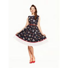 Tmavomodré Šaty s Potlačou Benátky LINDY BOP CLIO