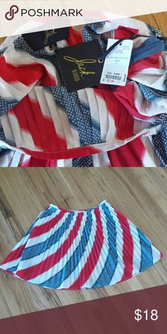 """Jack BB Dakota NWT Skirt sz 6 Perfect skirt for the 4th of July!!  This is a beautiful pleated Jack BB Dakota New With Tags skirt made from 100% Polyester and measures 18"""" in length BRAND NEW CONDITION ? Jack by BB Dakota Skirts Mini"""