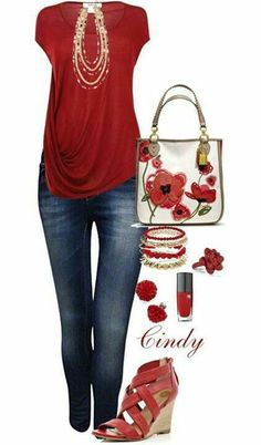 Great shirt, necklace! Heels are too high. Like everything else. Love the red of this shirt and its shape.