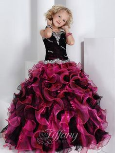 2015 Little Girls Pageant Dresses With Crystals Beads Ball Gown Ruched Ruffles Spaghetti Strap Flower Girls Dresses For Weddings Pagent Dresses, Little Girl Pageant Dresses, Pageant Girls, Girls Pageant Dresses, Ball Gown Dresses, Gown Skirt, Organza Dress, Wedding Dresses, Bridal Gowns