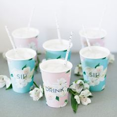 Transform standard party cups into a pretty, romantic serveware with free printable wraps that rival your china pattern. Or, for a custom look, use photos, magazine clippings, or wallpaper to make your own.