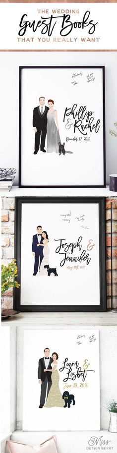 Gold Wedding Guest Book Canvas with Couple by MissDesignBerryInc