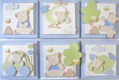 Quadros Ursos Baby Painting, Nursery Paintings, Animal Nursery, Nursery Art, Christening Frames, Paper Art, Paper Crafts, Baby Frame, Frame Crafts