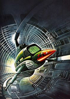 A PTVM Railbus illustrated by Bob Layzell for Spacecraft, 2000-2100 AD by Stewart Cowley.