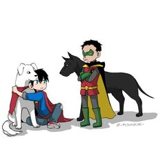 Superboy and Krypto vs Robin and Titus
