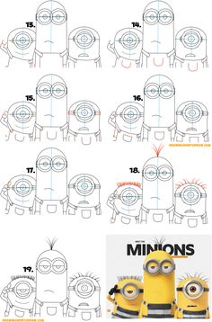 Learn To Draw Learn How to Draw the Minions from Despicable Me 3 Simple Steps Drawing Lesson for Children (Maybe Kevin, Carl, Easy Cartoon Drawings, Drawing Cartoon Characters, Easy Drawings, Minion Sketch, Minion Drawing, Drawing Tutorials For Kids, Drawing For Beginners, Minions, You Draw