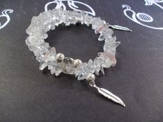 White and Pink Quartz Silver Memory wire Bracelet by TamsJewelry, $26.99