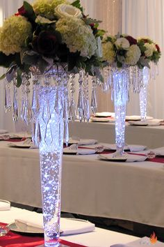 clear glass pilsner vase The post clear glass pilsner vase appeared first on Dekoration. Tall Wedding Centerpieces, Wedding Flower Arrangements, Floral Centerpieces, Reception Decorations, Floral Arrangements, Centerpiece Ideas, Centerpieces With Lights, Bling Centerpiece, Chandelier Centerpiece