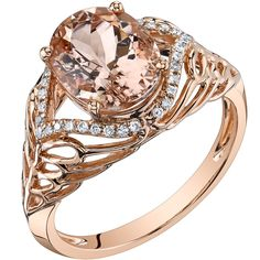 Oravo 14k Rose Gold 2 1/2ct TGW Oval Morganite and 1/6ct TDW Diamond Ring (H-I, SI1-SI2) (2.50 ct Morganite), Women's, Size: 7, Pink