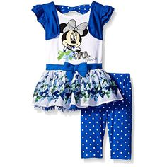 Disney Little Girls 2 Piece Bow-Tiful Minnie Top and Legging Set, Blue, 5 * Be sure to check out this awesome product.