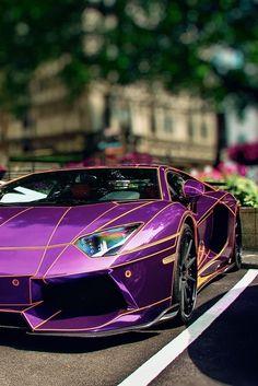 Purple car Aventador