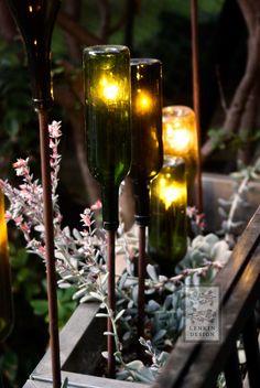 Lights inside bottles on copper pipe, no instructions Modus Midnight - Lenkin Design