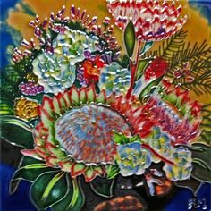Continental Art Center BD0539 8 by 8Inch Protea Flower Ceramic Art Tile *** Click image for more details.