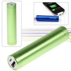 2600mAh Aluminum Tubes Cylindrical Mobile Power for iPhone 4/4S, 3GS/3G, iPod, Digital Devices, etc (Green)