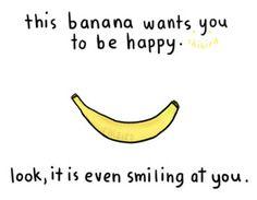happy, banana, art, drawing, quote