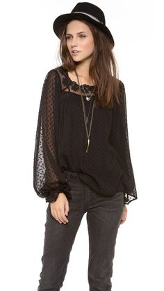 Love Sam Lace Peasant Top Sheer swiss dot and lace at @Shopbop