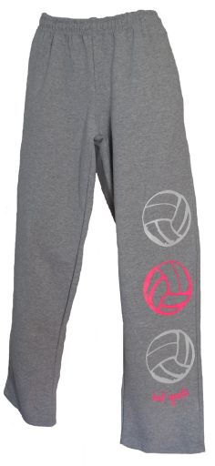 NEW - 3 - Volleyballs in Pink and White - Gray Sweatpants