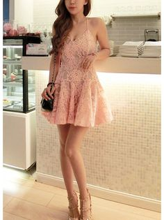 Lace A-line Sleeveless Mini Dress