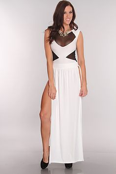 Youll knock them dead when you show up in this sexy maxi dress. This sexy maxi dress features a scoop neckline, sleeveless, mesh cut outs, empire waist, side slits, back strap cut out and nd a sexy fit to show off those sexy drop dead gorgeous curves! Heads with turn when you wear this sexy dress. 92% Polyester 8% Spandex MADE IN USA