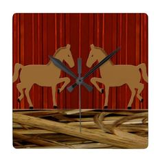 Rustic Horses Square Wall Clock zazzle ($31) ❤ liked on Polyvore featuring home, home decor, clocks, rustic home accessories, photo clock, photo wall clock, rustic home decor and horse home decor