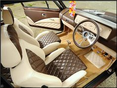 brown leather mk1 golf interior. Beautiful. I remember seeing this when I had my golf. The dials are all sewn on.