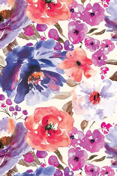 Fall Floral Painted Watercolor Flowers in Blue Purple - A bouquet of painted flowers in a vivid blue, purple and pink color scheme. on fabric, wallpaper, and gift wrap.