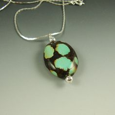 Turquoise Pendant Large Blue Spots Black by CalliopeAZCreations, $28.00