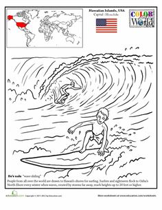 Worksheets: Hawaii Surfing Coloring Page Geography Worksheets, Social Studies Worksheets, Teaching Social Studies, Geography For Kids, World Geography, Coloring Pages For Kids, Coloring Sheets, Kindergarten Themes, Craft Activities For Kids