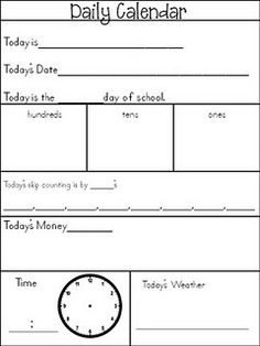 Daily Calendar for Kids.... I love this idea! Each kid has a paper that they have to fill out during calendar time....that way everyone is participating! This would be good to put in a sheet protector so you would not have to make a lot if copies, kids could use a dry erase marker to write on the sheet then wipe off to record the info for the next day.