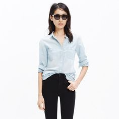 A longer, leaner, ready-to-layer version of our favorite tomboy button-down shirt. An easy shape in timeless chambray. <ul><li>True to size.</li><li>Cotton.</li><li>Machine wash.</li><li>Import.</li><li>Madewell.com only.</li></ul>