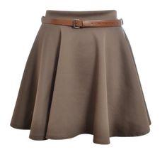 Hot Hanger Womens Belted Mini Skater Skirt 8141214 ML Mocha >>> Learn more by visiting the image link.