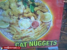 I hope that's catfish nuggets...PLEASE tell me they mean catfish nuggets...
