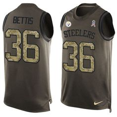 Nike Steelers #36 #Jerome #Bettis Green Men's Stitched NFL Limited Salute To Service Tank Top Jersey