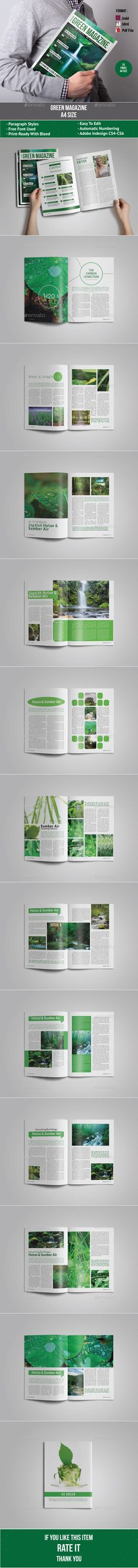 Green Magazine by alhaytar Live PreviewThis item consist of 25 pages that fully editable and customizable.FEATURES :25 Pages A4 Size Paragraph Styles Charact
